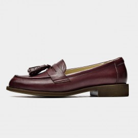 Beau Tassel Woodgrain Heel Wine Loafers (27117)