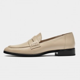 Beau Dark Woodgrain Heel Apricot Loafers (27122)