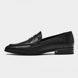 Beau Dark Woodgrain Heel Black Loafers (27122)