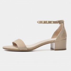 Beau Elegant Pearl Ankle Strap Nude Sandals (31036)
