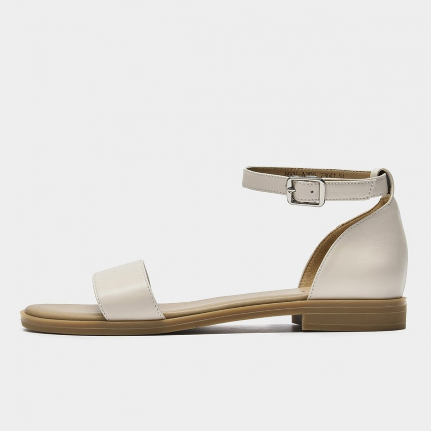 Beau Minimalist Leather Ankle Strap Beige Sandals (32097)