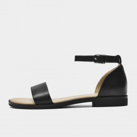Beau Minimalist Leather Ankle Strap Black Sandals (32097)