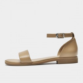 Beau Minimalist Leather Ankle Strap Camel Sandals (32097)