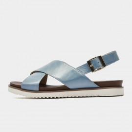 Beau Leather Cross Strap Blue Sandals (32109)