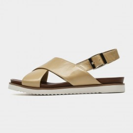Beau Leather Cross Strap Brown Sandals (32109)