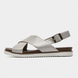 Beau Leather Cross Strap Grey Sandals (32109)
