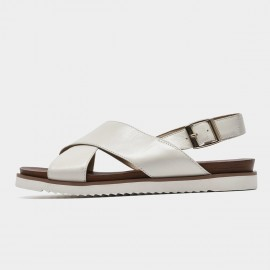 Beau Leather Cross Strap White Sandals (32109)