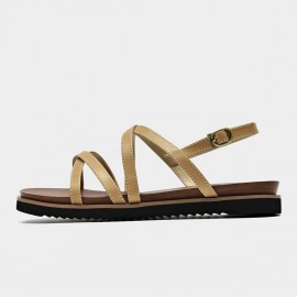 Beau Thin Leather Stitched Strap Camel Sandals (32119)