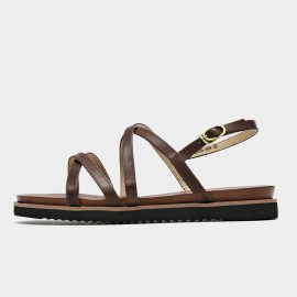 Beau Thin Stitched Leather Strap Coffee Sandals (32119)