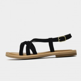 Beau Thin Suede Strap Black Sandals (32130)