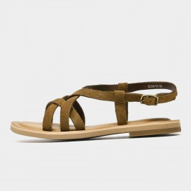 Beau Thin Suede Strap Brown Sandals (32130)