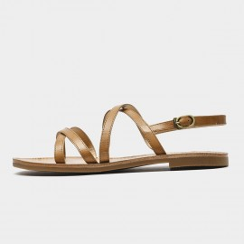 Beau Minimalist Thin Sole Leather Strap Brown Sandals (32132)