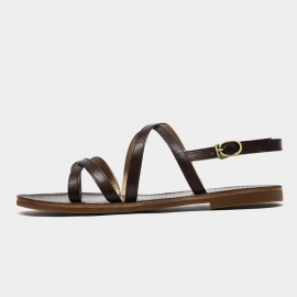 Beau Minimalist Thin Sole Leather Strap Coffee Sandals (32132)