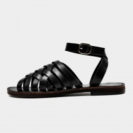 Beau Stylish Ankle Strap Black Sandals (33010)