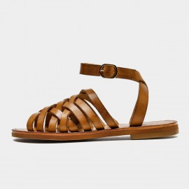 Beau Stylish Ankle Strap Brown Sandals (33010)