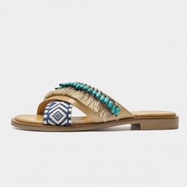 Beau Bohemian Ethnic Pattern Blue Slippers (36096)