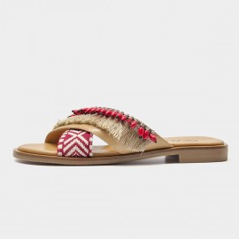 Beau Bohemian Ethnic Pattern Red Slippers (36096)
