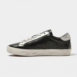 Beau Daily Casual Star Metallic Silver Black Sneakers (29030S)