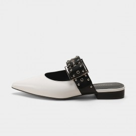 Masoomake Belt White Sandals (FSL66077)