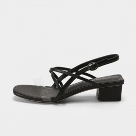 Masoomake Cross Stripe Black Sandals (FSL69150)