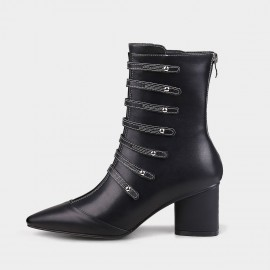 Jady Rose Straps And Metal Studs Point Toe Chunky Heeled Rider Black Boots (17DR10319A)