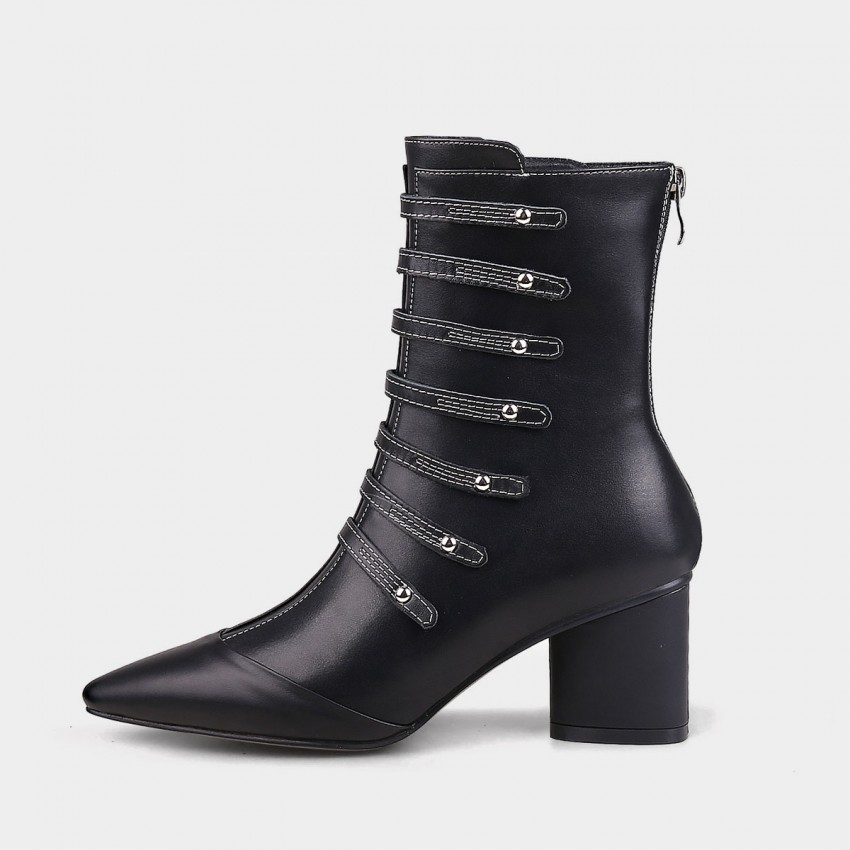 Buy Jady Rose Straps And Metal Studs Point Toe Chunky Heeled Rider Black Boots online, shop Jady Rose with free shipping