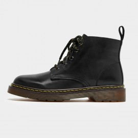 Beau Calf Leather Mid-Top Black Boots (03419)