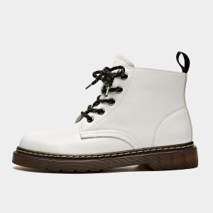 Beau Calf Leather Mid-Top White Boots (03419)