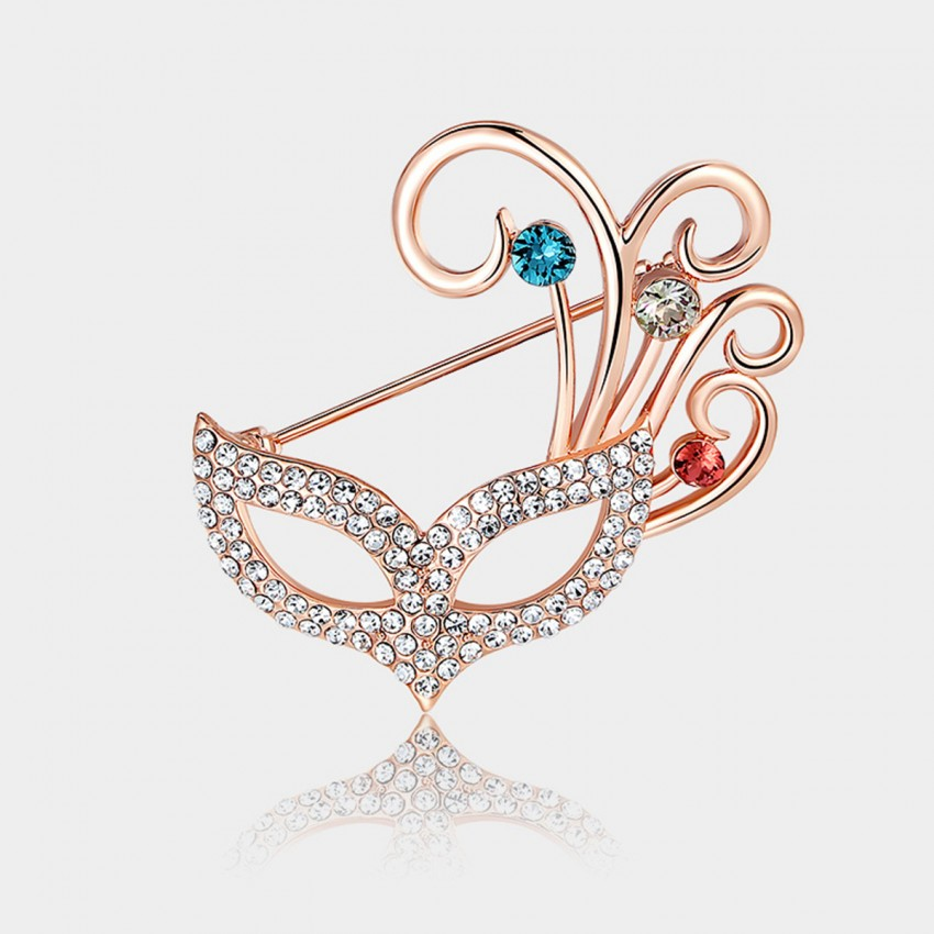 Caromay Foxy Mask Rose Gold Brooch (T0124)