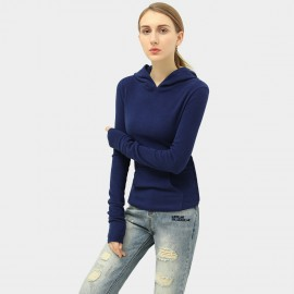 Cocobella Hooded Fitted Navy Knit (YN639)
