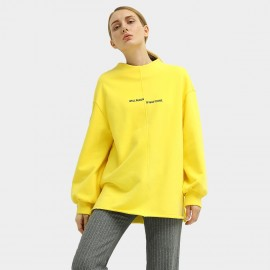 Cocobella Oversized Stand Collar Yellow Sweater (TE779)