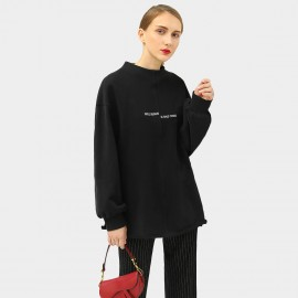 Cocobella Oversized Stand Collar Black Sweater (TE779)