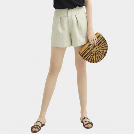 Cocobella High-Waist Pleated Ivory Shorts (PT596)