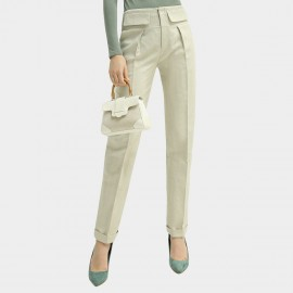 Cocobella High-Waist Front Pockets Ivory Pants (PT586)