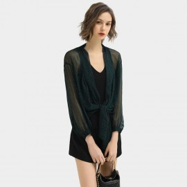 Cocobella Patterned See-Through Dark Green Shirt (HT380)