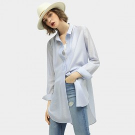 Cocobella Pleated Button-Up Blue Shirt (HT358)