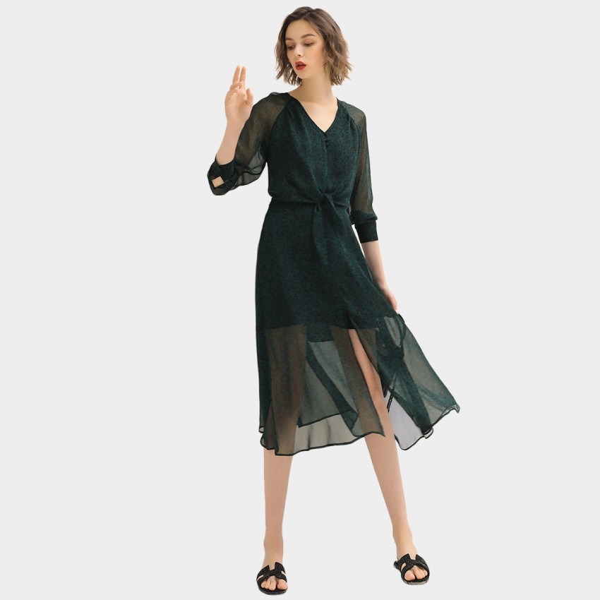 Buy Cocobella Green Tie-Waist Dress online, shop Cocobella with free shipping
