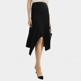 Cocobella Front Slit Asymmetric Hem Black Skirt (DS1072)