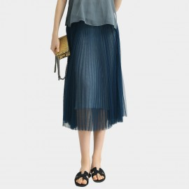 Cocobella High-Waist Chiffon Navy Skirt (DS1069)