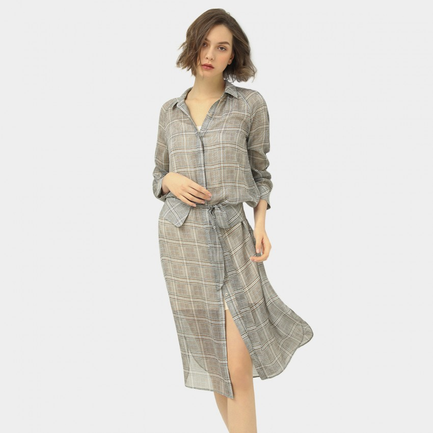 Buy Cocobella Sheer Checked Shirt Grey Dress online, shop Cocobella with free shipping