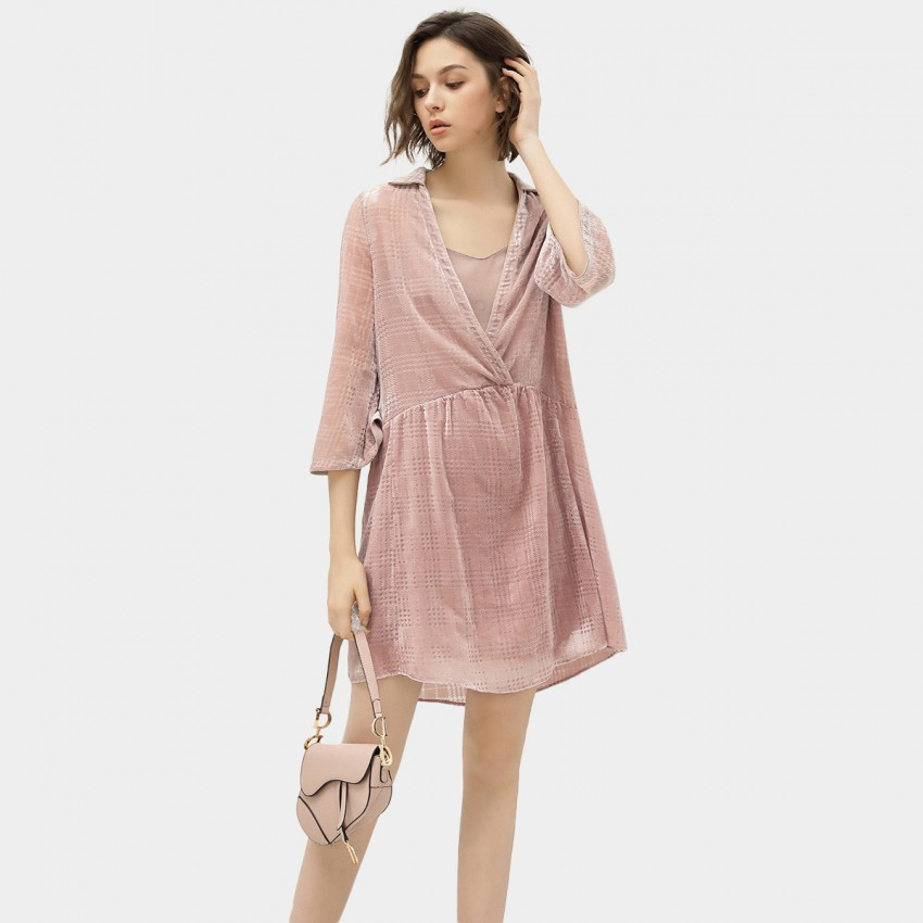 Buy Cocobella Checked Low Neckline Pink Dress online, shop Cocobella with free shipping