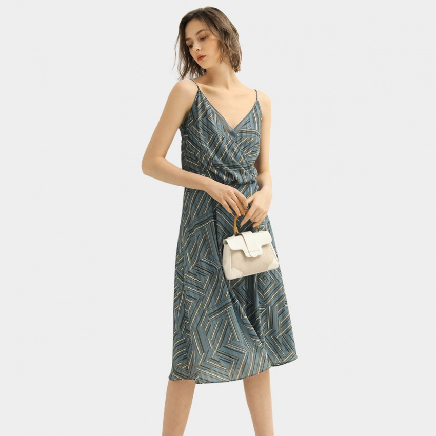 Buy Cocobella Line Patterned Blue Dress online, shop Cocobella with free shipping