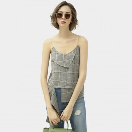 Cocobella Spaghetti Straps Checked Grey Top (DA119)