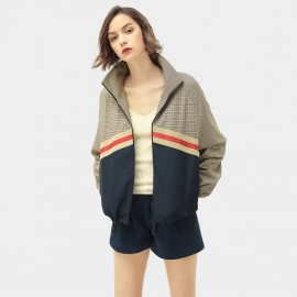 Cocobella Colorblock Plaid Khaki Jacket (CT945)