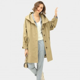 Cocobella Wide Collar Hooded Khaki Trench Coat (CT941)
