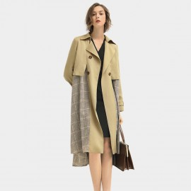 Cocobella Plaid Contrast Khaki Trench Coat (CT940)