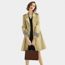 Cocobella Plaid-Detail Khaki Trench Coat (CT912)