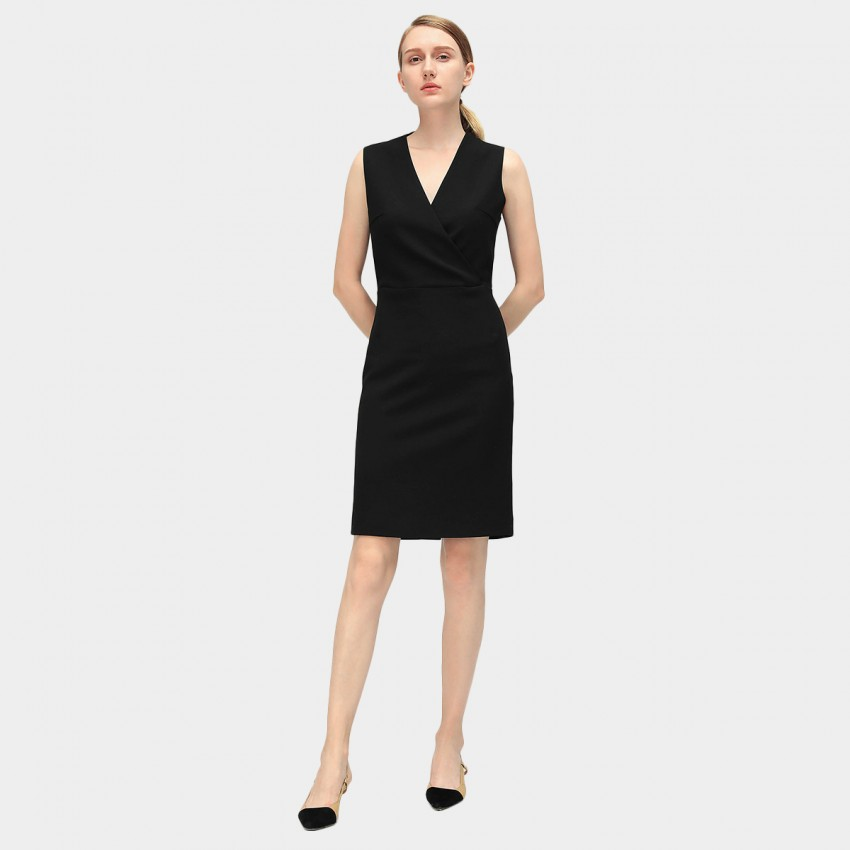 Buy Cocobella Minimalist V-Neck Black Dress online, shop Cocobella with free shipping