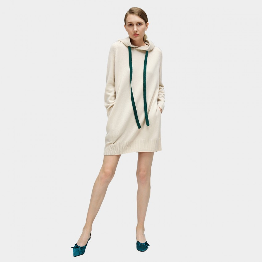 Buy Cocobella Hooded Sweater-Style Cream Dress online, shop Cocobella with free shipping