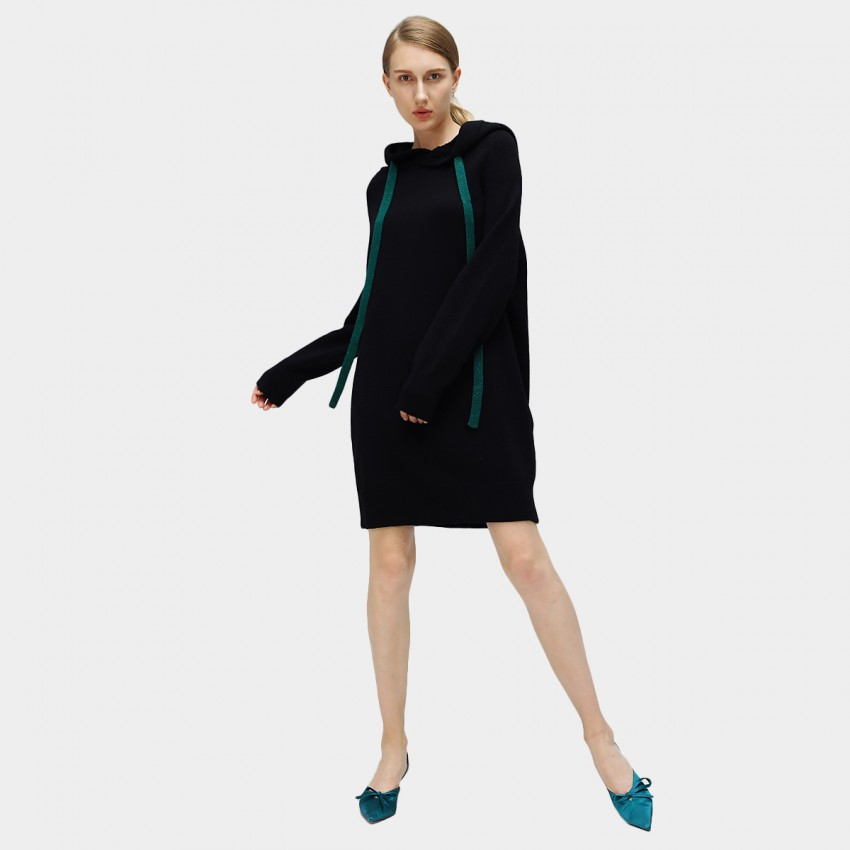 Buy Cocobella Hooded Sweater-Style Black Dress online, shop Cocobella with free shipping